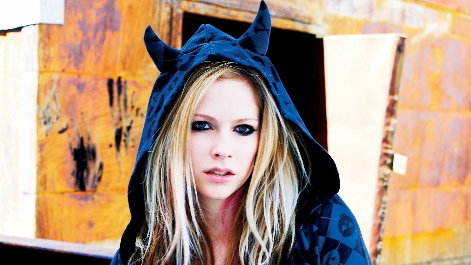 Avril Lavigne with Devil Hood