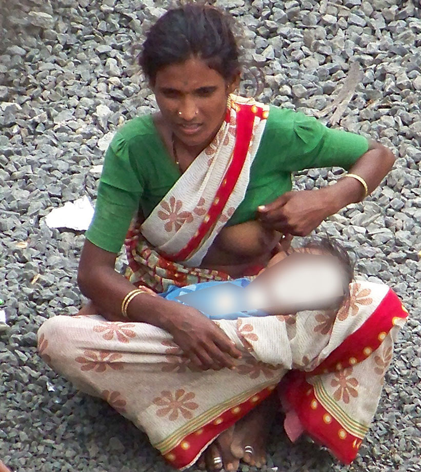 Breast feeding picture of indian woman