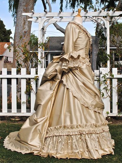 Brown Victorian Reproduction Bustle Dress
