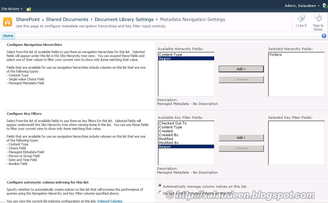 Metadata Navigation on SharePoint lists