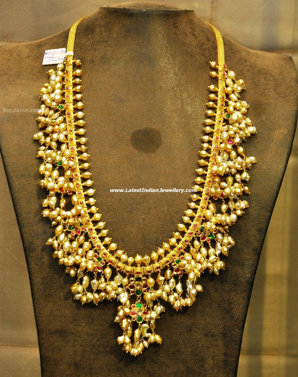 south indian traditional guttapusalu necklace with pearls