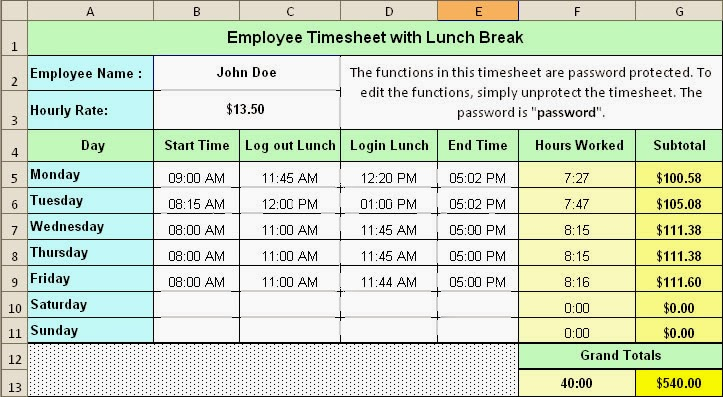 Excel Timesheet Template With Lunch Break
