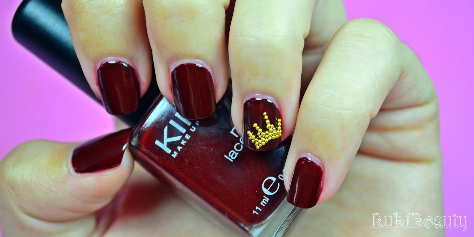 rubibeauty burgundy crown nail art manicura esmalte 225 kiko