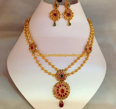 Gold Beads Uncut Diamonds