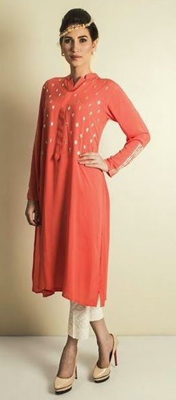 Long Silk Shirts Designs Eid 2014