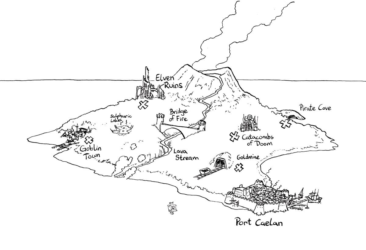 Line Drawing Volcano : Doktor tko the black island