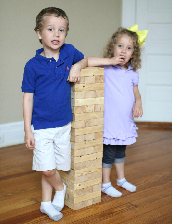 How to build a diy giant jenga stacking game 17 apart along came benjamin 4 sophia 3 and little chelsea who just turned 1 we werent sure how the kids would react or take to the game and were surprised solutioingenieria Gallery