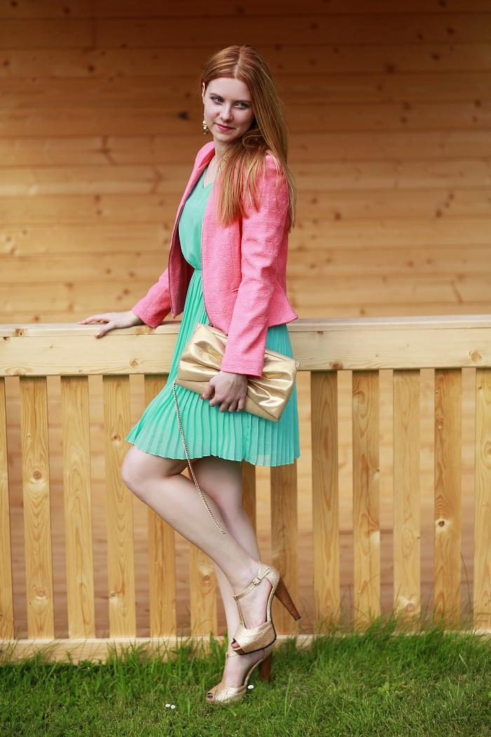 coral jacket, zara, zrzavá blogerka, ginger