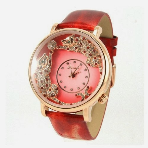 New Style Two leopard Pattern Crystal Womens Fashion Watches