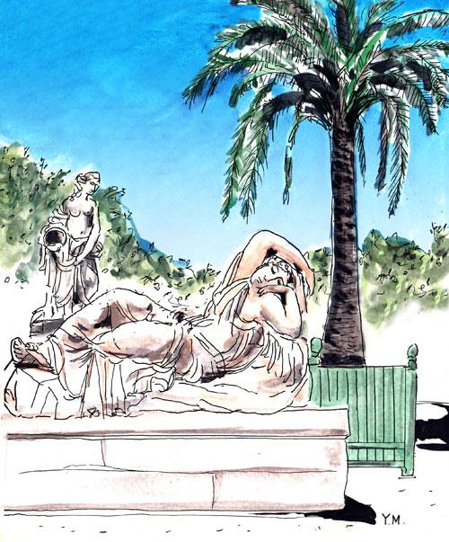 Statue de femme dormant dans le jardin du château de  Versailles parYukié Matsushita