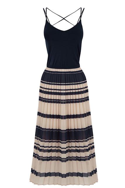 black tie stripe skirt dress, warehouse pleated midi dress,