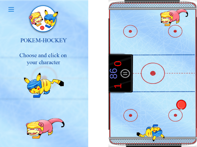 Игра 'Pokem Air Hockey 2D'