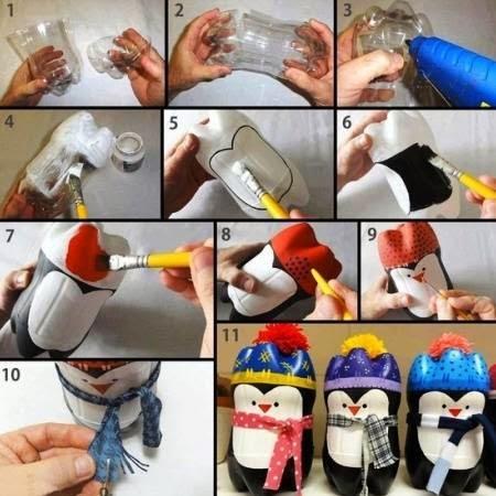 Membuat penguin dari botol Plastik bekas