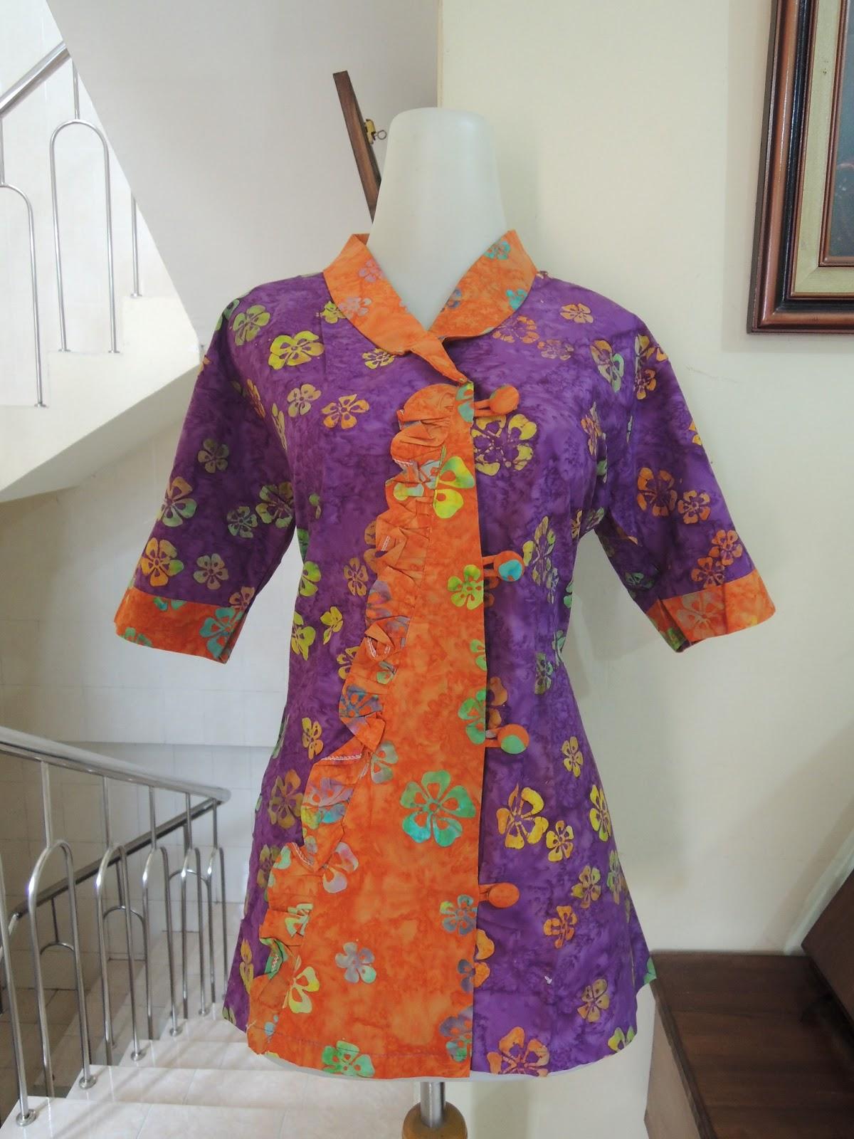 Blus Batik Kombinasi Cap Tulis Warna Cerah Koleksi 16 Mei