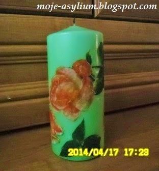 Świeca w róże – decoupage na wosku
