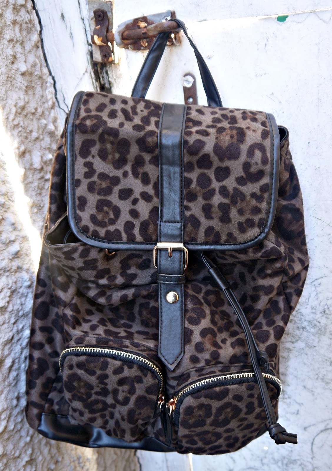 Leopard Print and Faux LeatherTrim Rucksack from Primark
