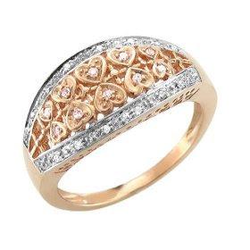 14kWhiteandRose GoldHeartShapedDiamondPromiseRing - Beautiful Ladies Rings