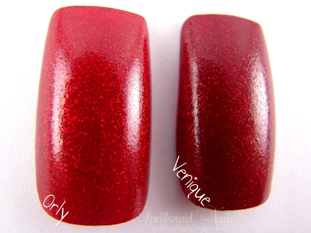 nails nailart nail art polish mani manicure Spellbound Venique Runway Sparkle shimmer glitter red deep dark Christmas holiday collection dupe Orly Star Spangled comparison color swatch three coats