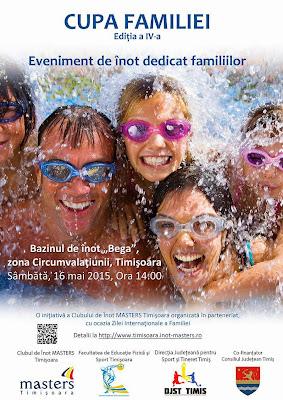 Invitaţie la Cupa Familiei, eveniment de înot, sâmbătă, 16 mai, bazinul de înot Bega, zona Circumvalaţiunii, Timişoara. Afis