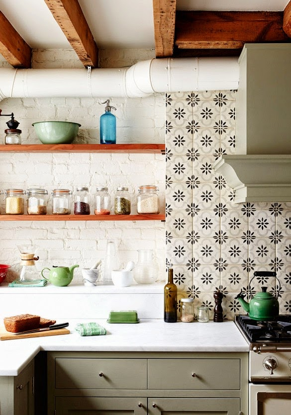 patterned cement tile backsplash