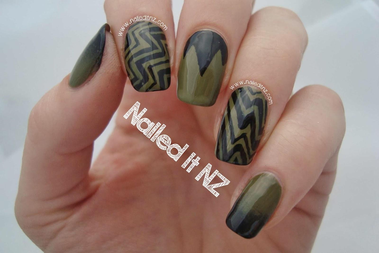 Two Polish Nails Khaki And Black Trip Down Nail Art Lane Day 2