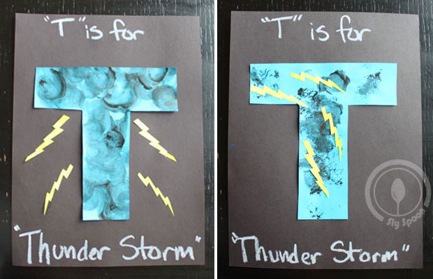 Toddler/Preshooler letter of the week craft T is for Thunder Storm with related craft, tracing sheets and fruits/vegetables.