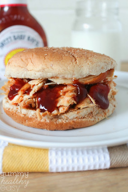 Slow Cooker BBQ Shredded Chicken Sandwiches (only 3 ingredients ...