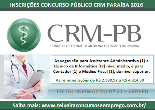 Apostila CRM Paraíba 2016 - Assistente Administrativo - Conselho Regional de Medicina da PB (CRMPB)