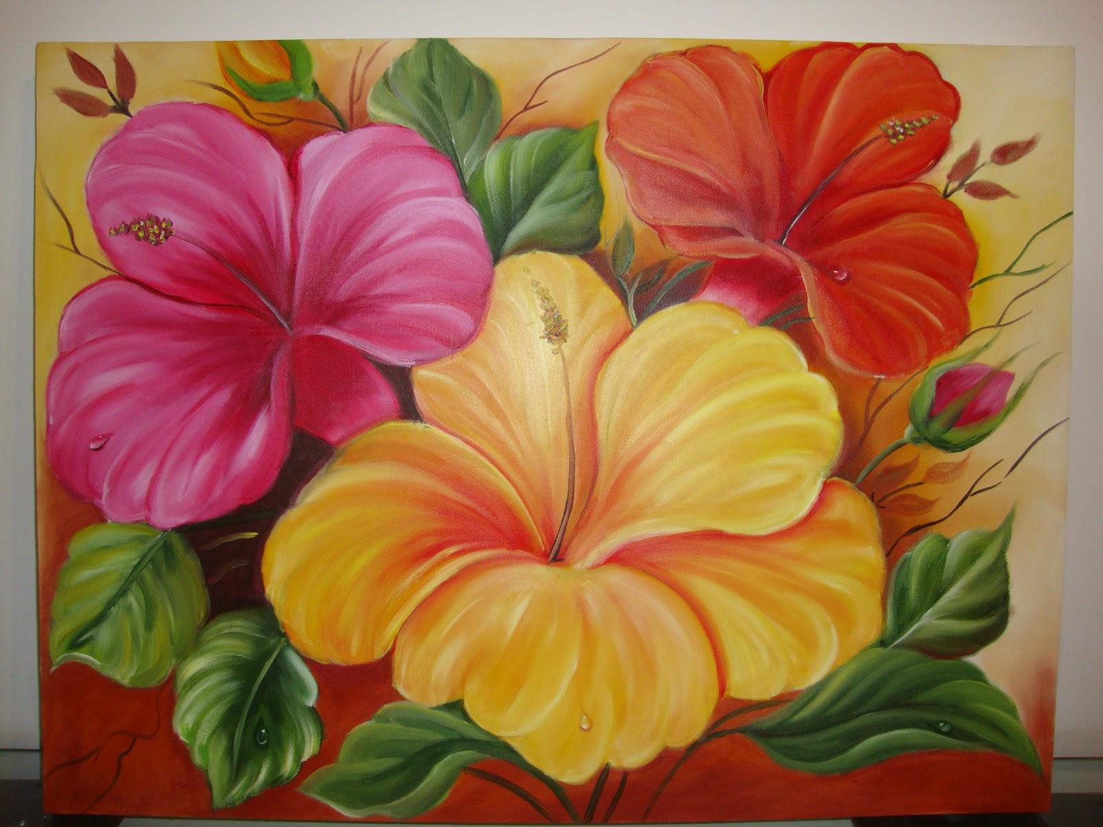Amb artesanatos meire borges tela flores - Como pintar sobre tela ...