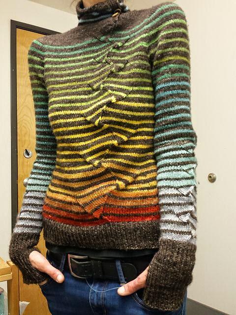 sweter na drutach damski