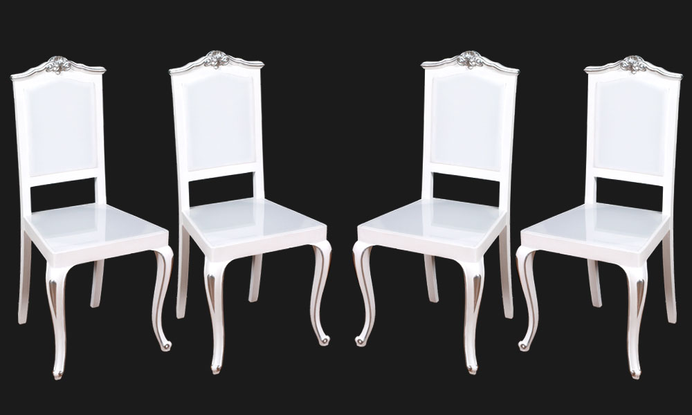 Sedie plexiglass luminose illuminazione led barocco laccate bianche e ...