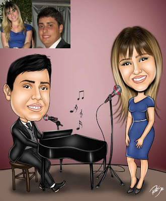 caricatura de pianista e cantora