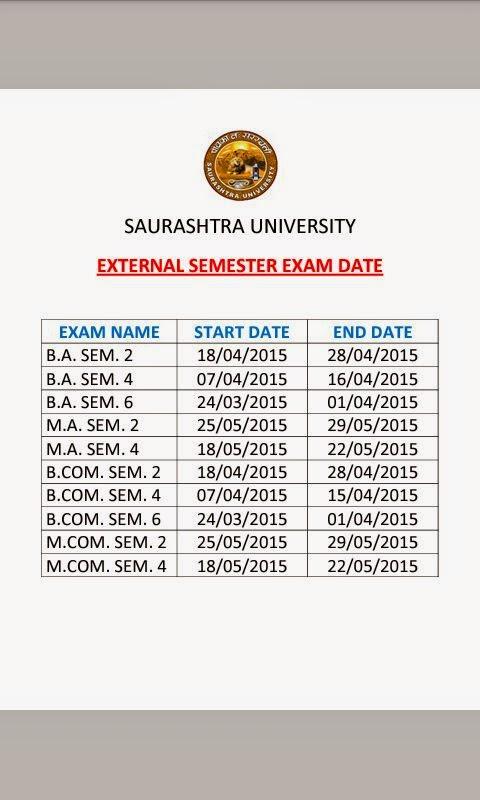 SAURASHTRA UNIVERSITY - VARIOUS EXTERNAL EXAMS DATES