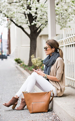 Hello Fashion in white jeans, tan cardigan, scarf, tan booties and handbag