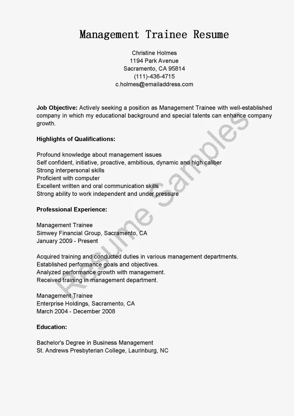 resume sles management trainee resume sle