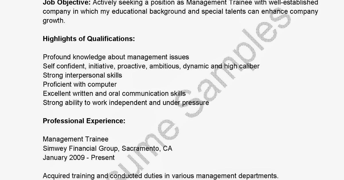 resume samples  management trainee resume sample