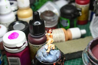Pintura del pelo de la esclava con caoba