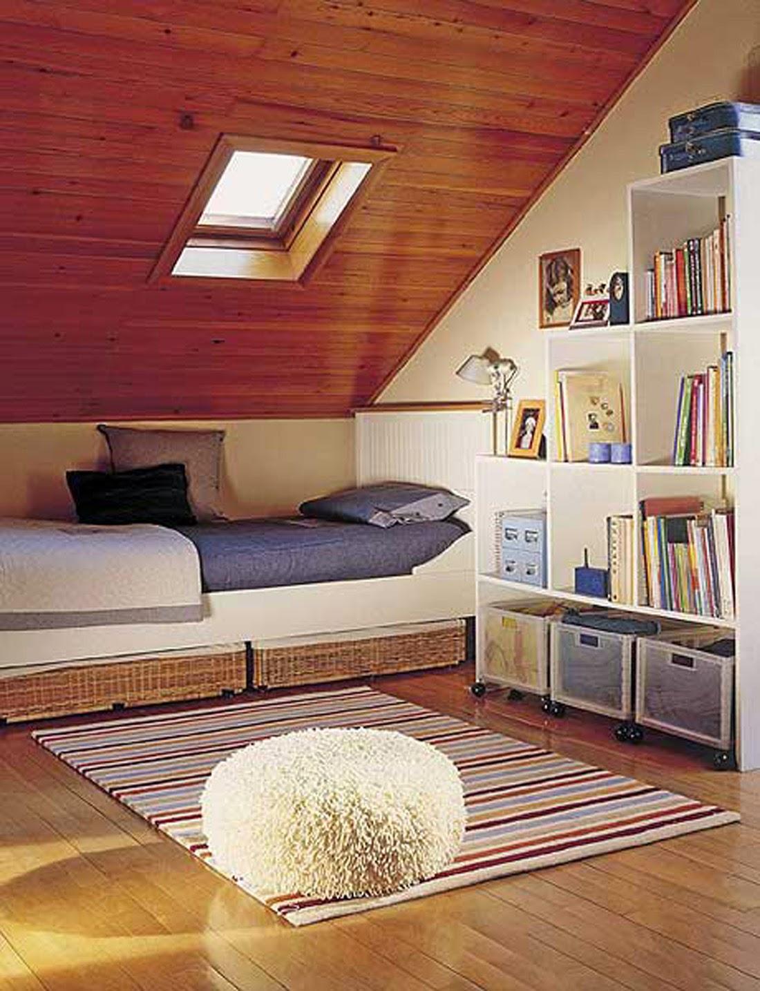 Cute pinterest attic bedrooms for Rack design for bedroom