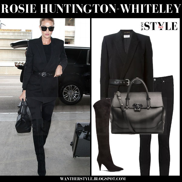 Rosie Huntington-Whiteley in black belted saint laurent blazer and black suede saint laurent cat boots what she wore streetstyle