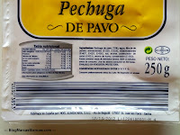 Ingredientes y valores nutricionales de la pechuga de pavo en lonchas Serra Marina de Lidl.
