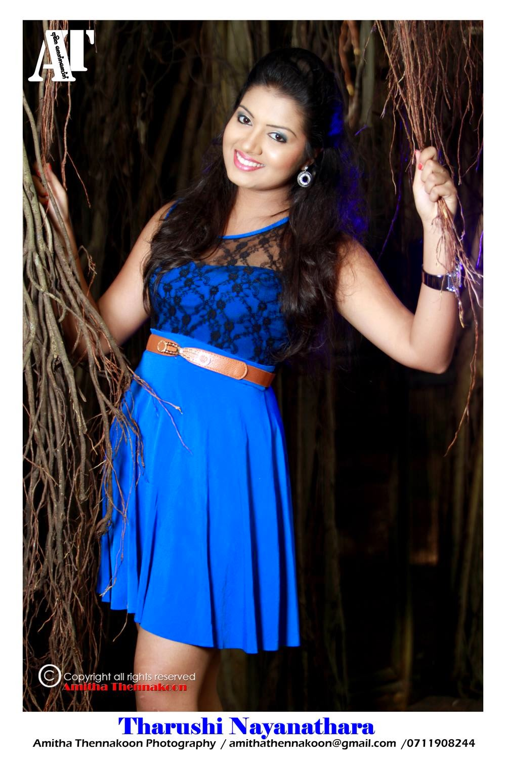 Tharushi Nayanathara blue mini dress