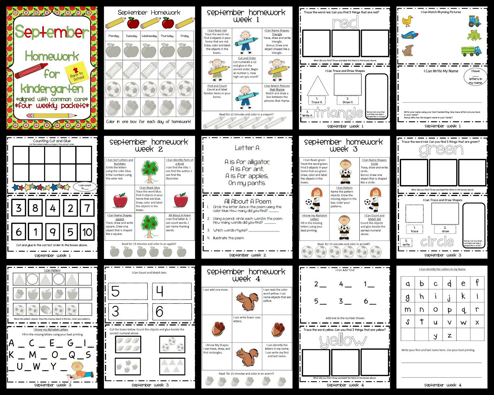 printable kindergarten monthly homework