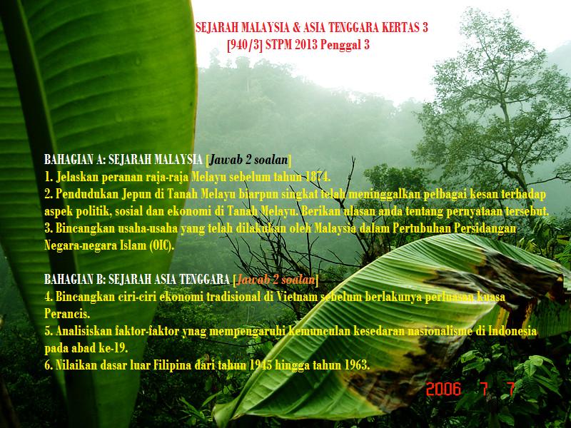 Blog Sejarah STPM Baharu: Semekar Cintaku : Soalan Sebenar Sejarah ...