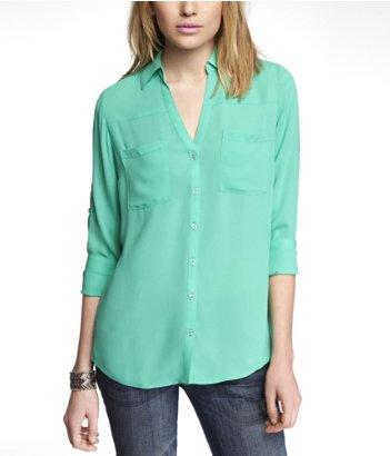 Express oasis green portofino blouse