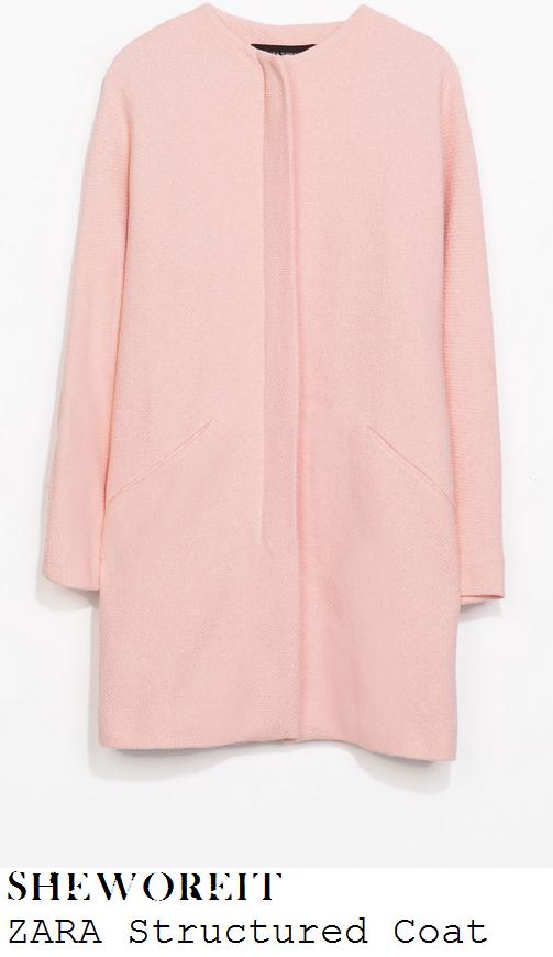 frankie-sandford-light-salmon-pink-collarless-coat-channel-4-studio