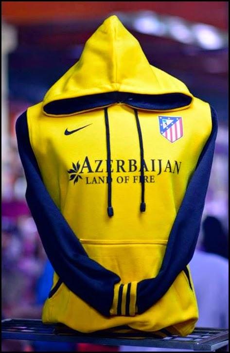 New Jaket - Jumper Hoodie Bola Kombinasi 2014 - 2015 Atletico Madrid (kuning kombinasi hitam)