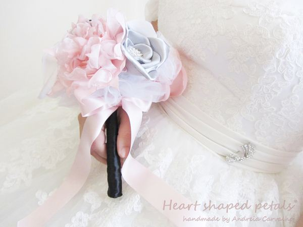 bouquet de noiva rosa, branco, preto