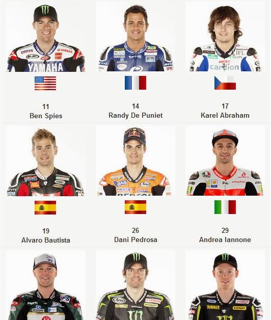 Susunan pembalap MotoGP 2014