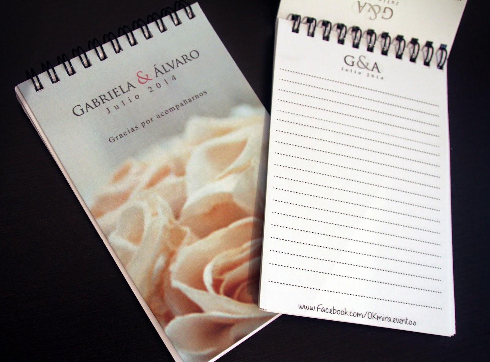 libretas personalizadas de recuerdo para boda okmira eventos