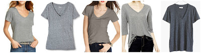 Merona Favorite V-Tee $9.00 get 2 for $16  Mossimo Boyfriend V Tee $9.00  Maison Jules V-Neck Pocket Tee $14.99 (regular $19.50)  Joe Fresh Elbow Sleeve Drape T-Shirt $17.99 (regular $24.00)  Madewell Slub V-Neck Pocket Tee $19.50 (regular $25.00)